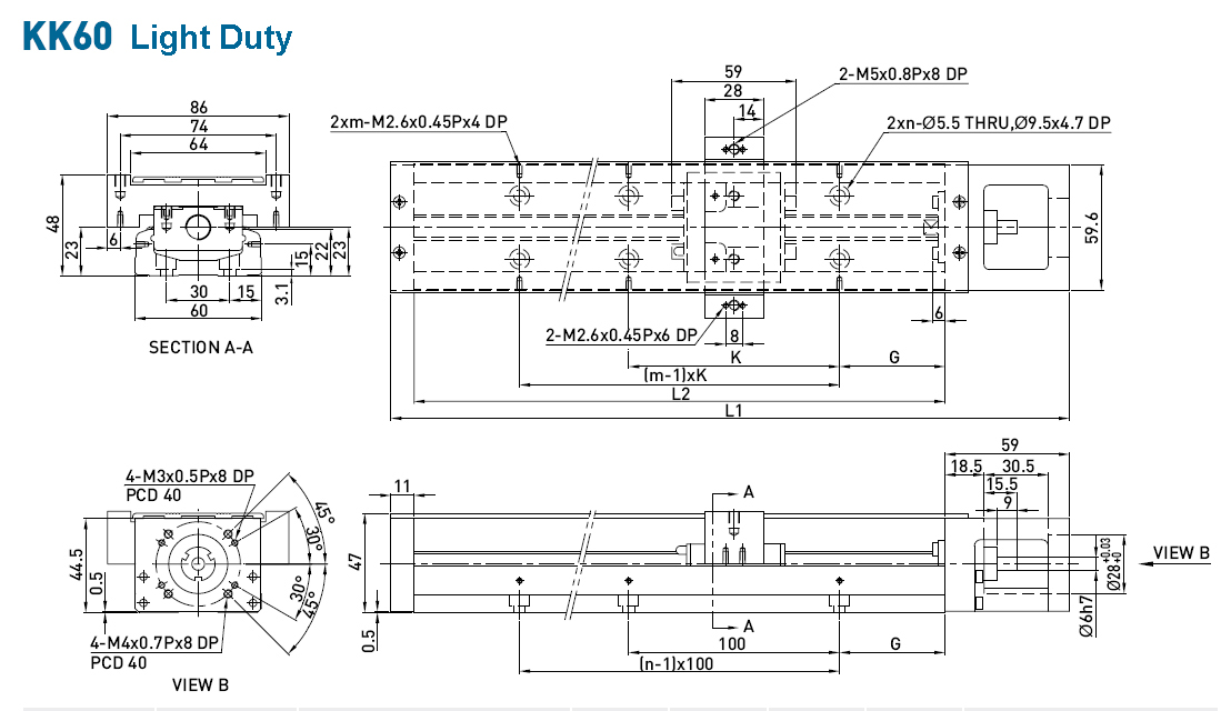 Dimensions of the linear modules  KK60