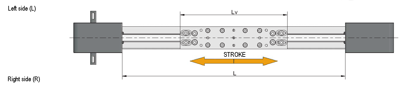 The stroke length of the belt module