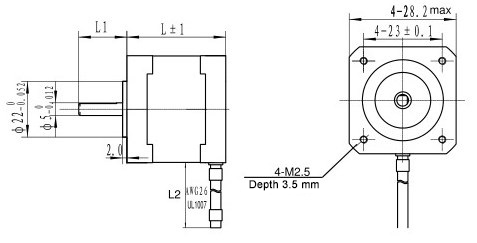 Dimensions of ZK28HS series