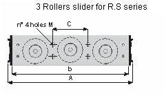 Sliders with 3 rollers of R.S series
