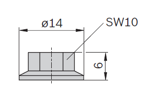 Dimensions of nut with flange for 8 mm groove