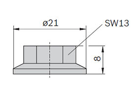 Dimensions of nut with flange for 10 mm groove