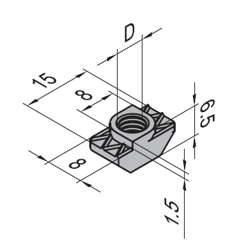 Dimensions of nut for 8 mm groove