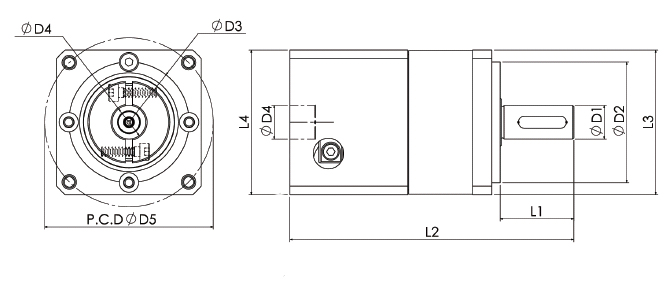 Dimensions of planetary gearbox ZPG