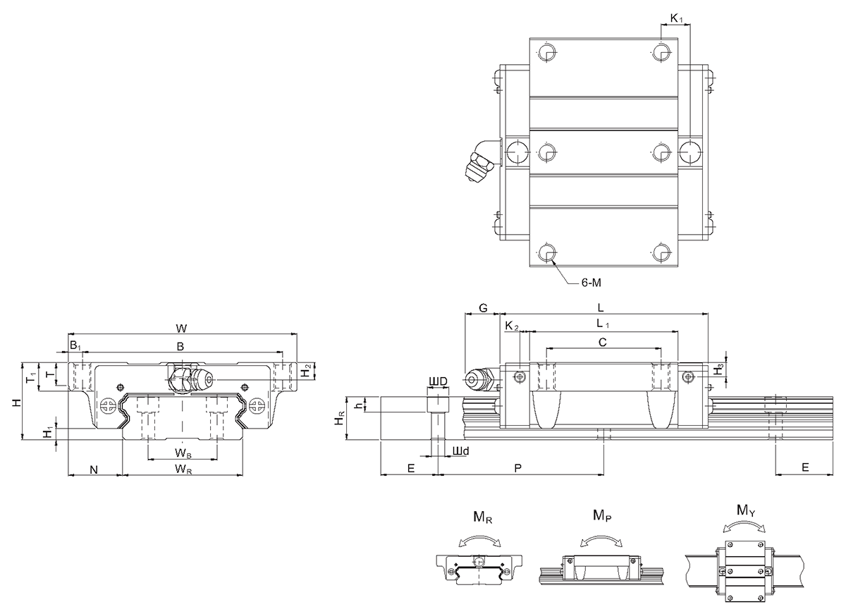 Linear guideways of QWW-CC series