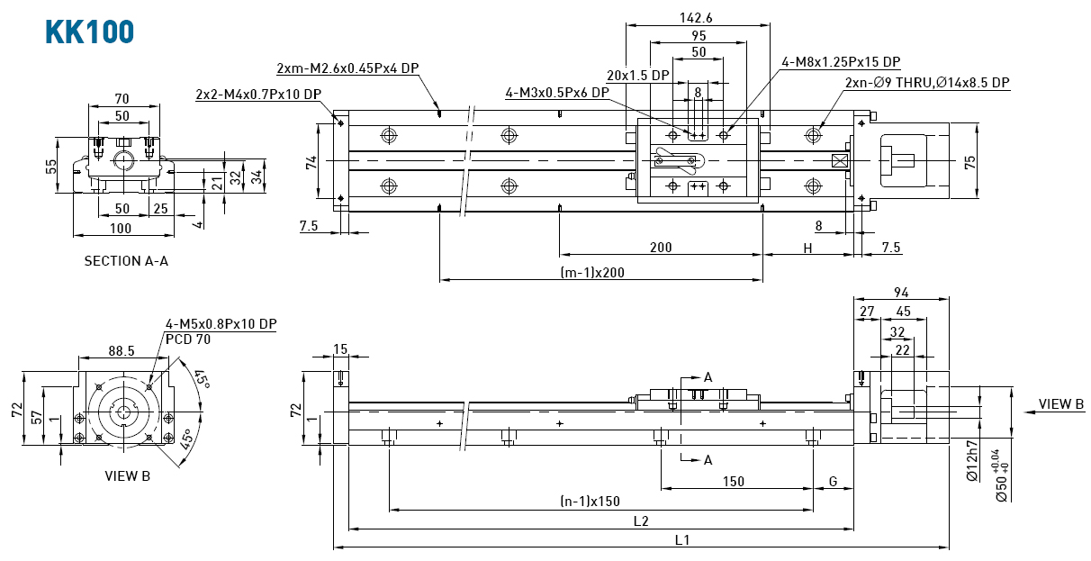 Dimensions of the linear modules  KK100
