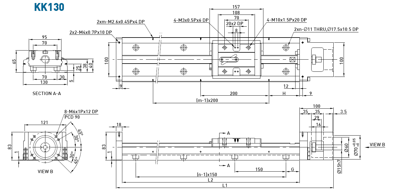 Dimensions of the linear modules KK130