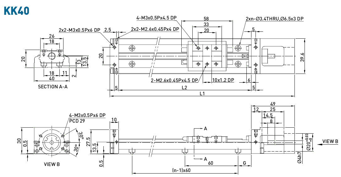 Dimensions of the linear modules KK40