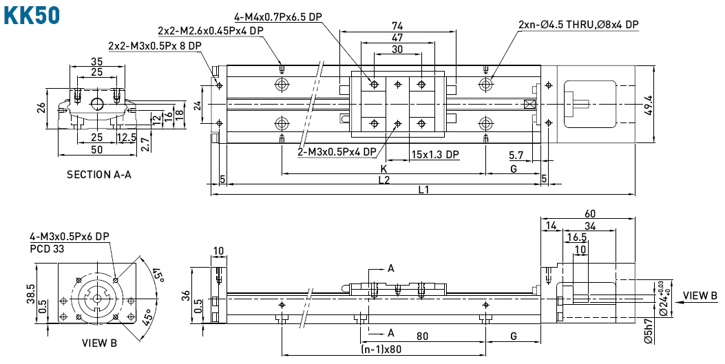 Dimensions of the linear modules KK50